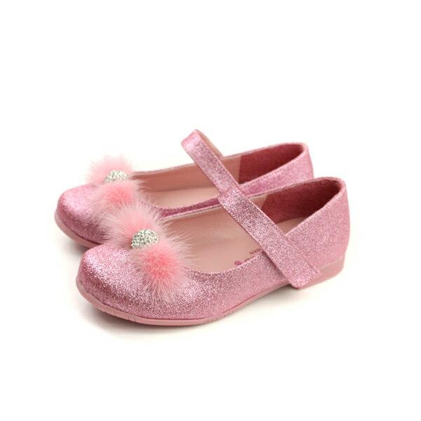 HUMAN PEACE:KINGCHILDED小女生鞋娃娃鞋亮粉絨毛球粉紅色中童童鞋no158