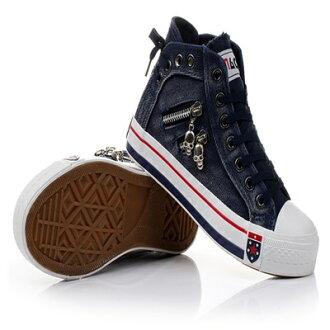 帆布鞋 休閒鞋-時尚休閒學生高筒平底女鞋子3色72ac23【獨家進口】【米蘭精品】