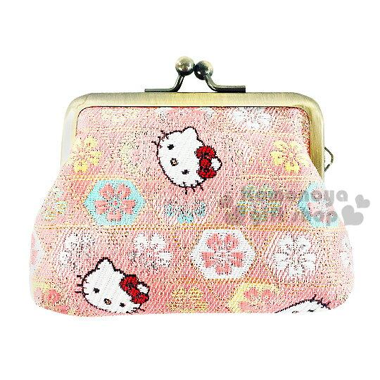 〔小禮堂〕Hello Kitty日製口金零錢包《小.粉.大臉.櫻花滿版》濃濃日系和風
