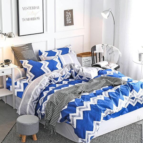PureOne【簡愛條紋-藍】雙人美肌磨毛四件式床包被套組