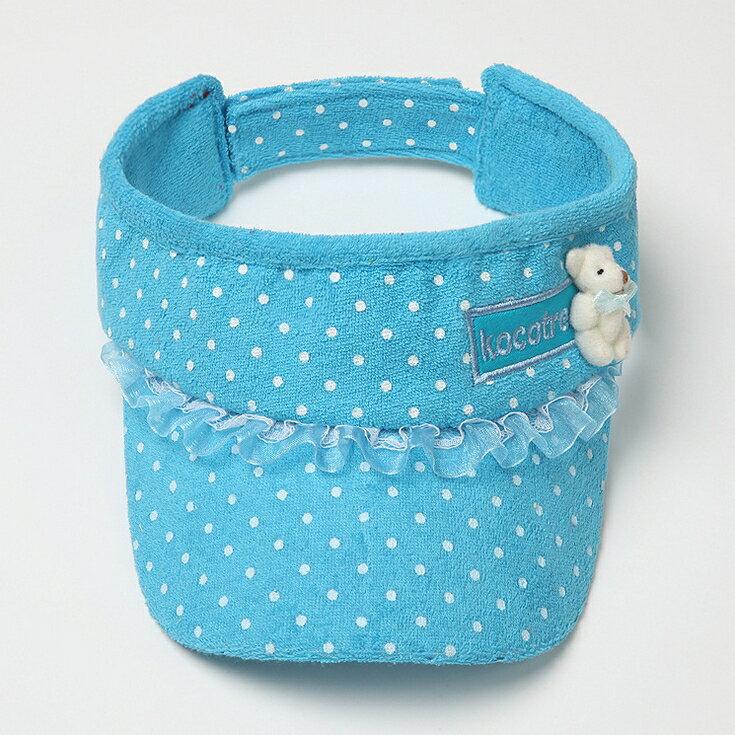 Kocotree◆時尚可愛蕾絲小熊字母點點兒童遮陽帽空頂帽-藍色