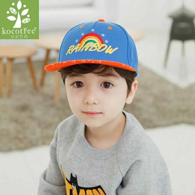 Kocotree◆時尚繽紛彩虹rainbow質感刺繡兒童休閒鴨舌帽運動棒球帽-橘色帽沿