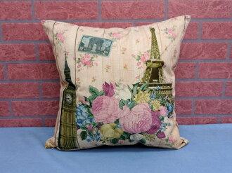 45X45棉麻沙發靠墊《LS10》另有美式鄉村玫瑰花大笨鐘巴黎鐵塔棉麻抱枕 車用靠枕 含枕心 居家布置◤彩虹森林◥