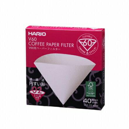 【金時代書香咖啡】Hario V60濾杯專用酵素漂白錐型濾紙 1-4人份 40枚入(VCF-02-40W)
