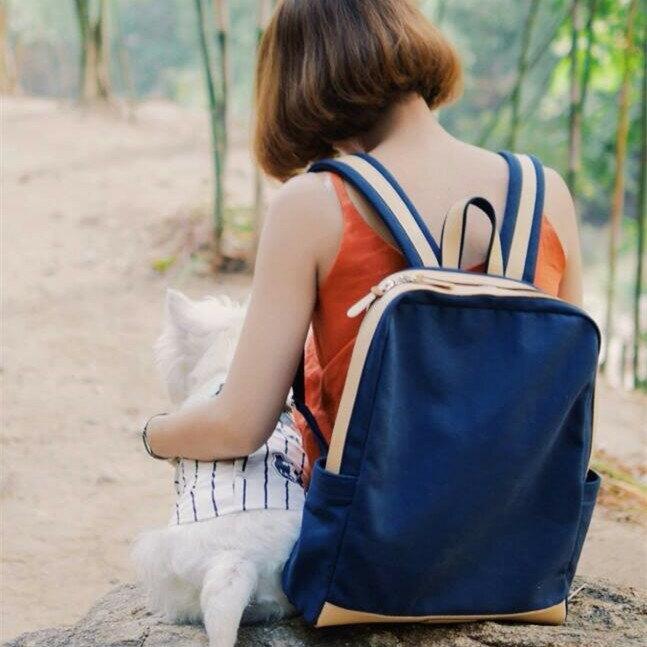WHITEOAK 超實用多夾層配色backpack帆布包(6色) 2