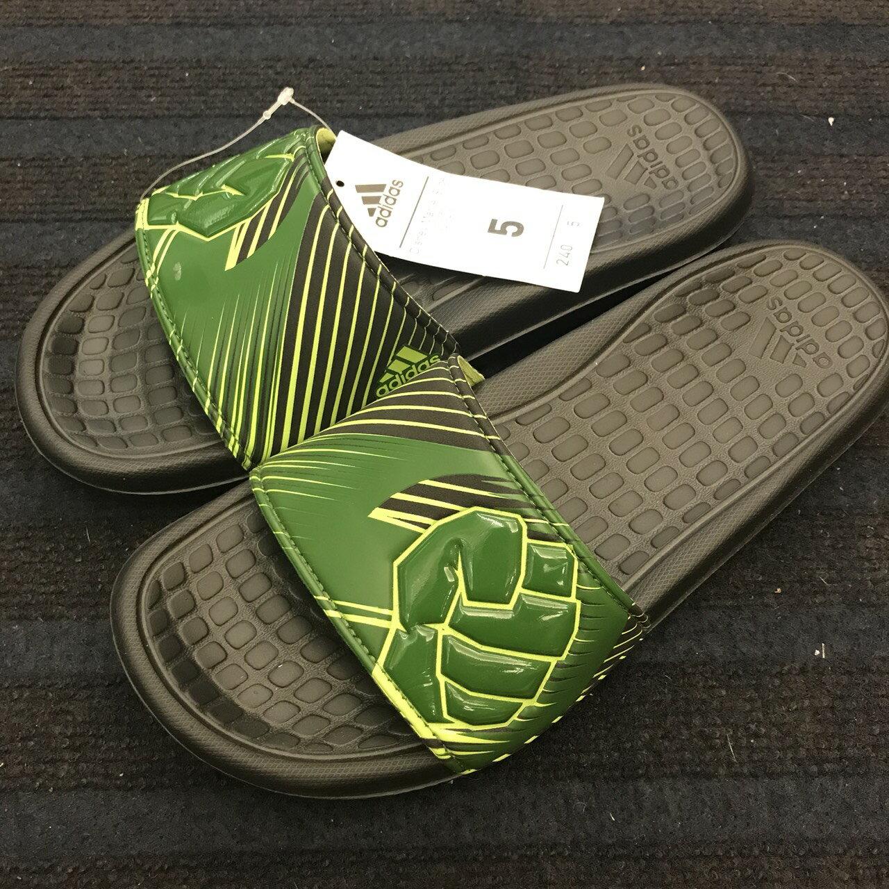 BEETLE ADIDAS MARVEL 愛迪達 綠巨人 浩克 拖鞋 AQ5119 黑綠