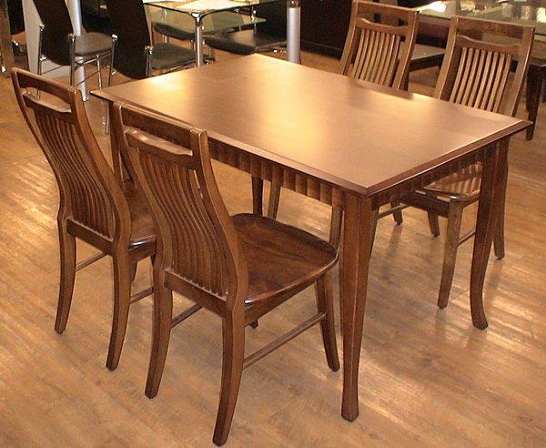 【尚品家具】631-05 胡桃.柚木波浪實木餐桌另有可搭餐椅