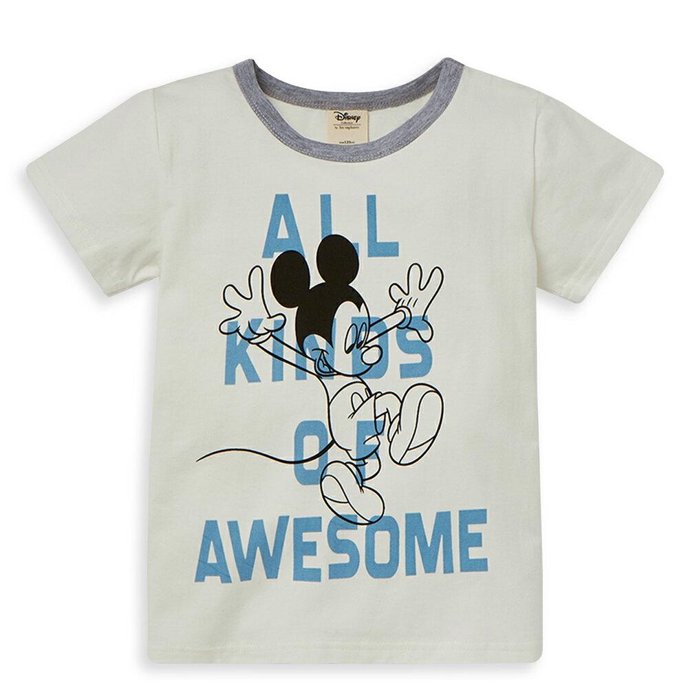 Disney 米奇系列歡喜跳躍圓領上衣-白色