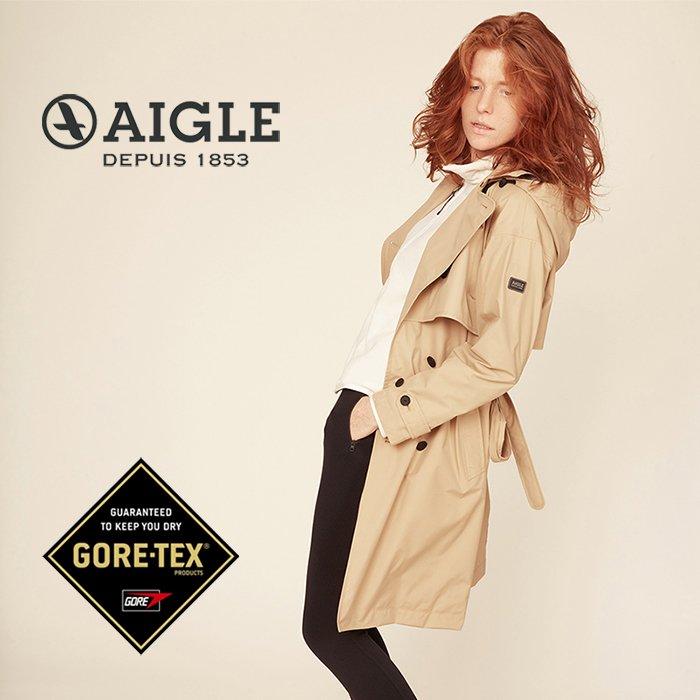 【AIGLE 法國】ALBERTA 防水透氣長版風衣 防水外套 防水夾克 GORE-TEX 女款 卡其色 (AG-9F203-A150)