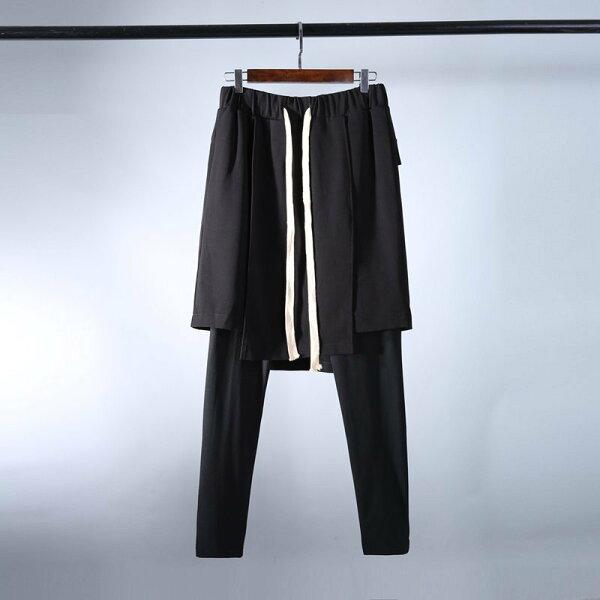 FINDSENSEH12018春裝暗黑個性假兩件高品質裙褲子