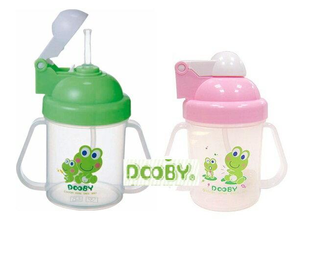 台灣【Dooby 大眼蛙】彈跳自動喝水杯-240c.c(綠/粉)