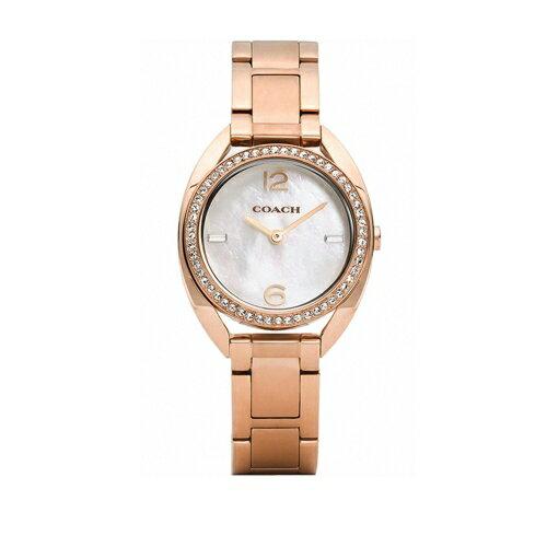 COACH 甜美珍珠貝晶鑚錶-玫瑰金/30mm-CO14502028