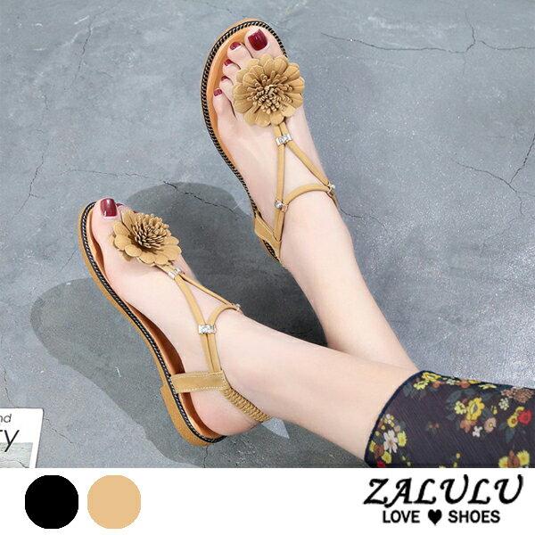 ZALULU愛鞋館7EE101預購花花夾腳平底美型涼鞋-黑黃-35-40