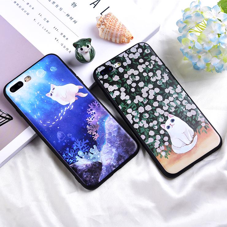 貓的海底世界iphone手機殼 可愛卡通動物矽膠軟殼手機套 蘋果Apple 6 6s 7 8 plus (現+預)《波卡小姐 貓咪小物》CS0007