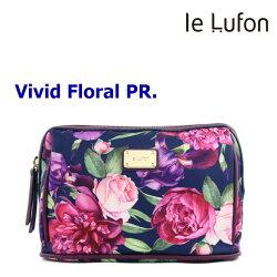 【le Lufon】牡丹花卉印花布拼接皮革 化妝包/手拿包/萬用包/多功能淑女隨身包-Vivid PR (共6色)