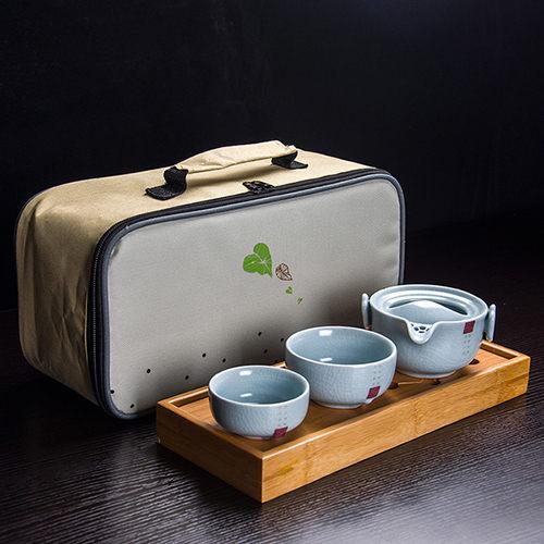 天青汝窯快客杯 一壺兩二杯 旅行小茶具套裝便攜開片可養陶瓷戶外 (+茶盤+旅行包)