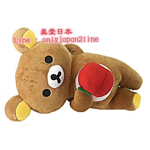 【真愛日本】1609240000112吋側躺娃-懶熊抱蘋果30CM  SAN-X 懶熊 奶妹 奶熊 娃娃 絨毛娃 抱枕