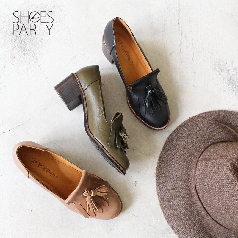【P2-18122L】真皮流蘇樂福粗跟鞋_Shoes Party 0