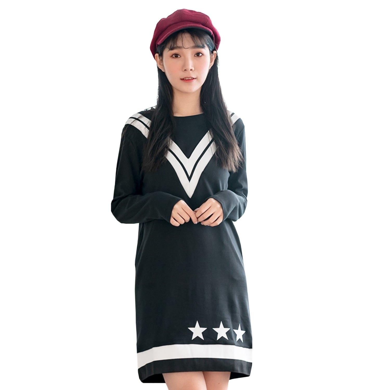 氣質洋裝--亮眼造型撞色羅紋星星拼接口袋寬鬆圓領長袖連衣裙(黑L-3L)-A351眼圈熊中大尺碼 0