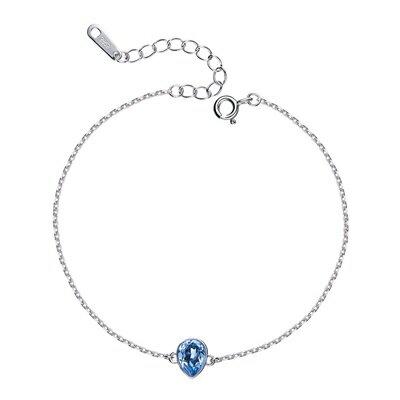 925純銀手鍊水晶手環-水滴型冰晶藍色清新聖誕節情人節生日禮物女飾品73qh72【獨家進口】【米蘭精品】