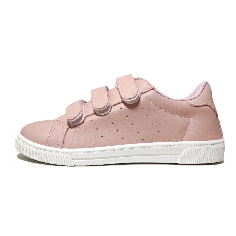 【滿額領券↘折$120】女款皮質黏貼休閒鞋 [18102] 粉 MIT台灣製造【巷子屋】