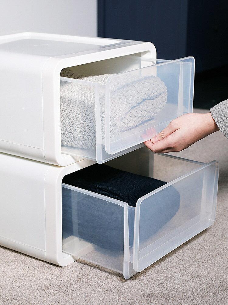 塑料收納櫃透明抽屜式桌面整理收納雜物儲物盒子整理衣櫃