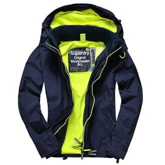 極度乾燥 Superdry Windcheater 2017年 螢光款 深藍 防風 防潑水機能外套 三層拉鍊設計 .黃色