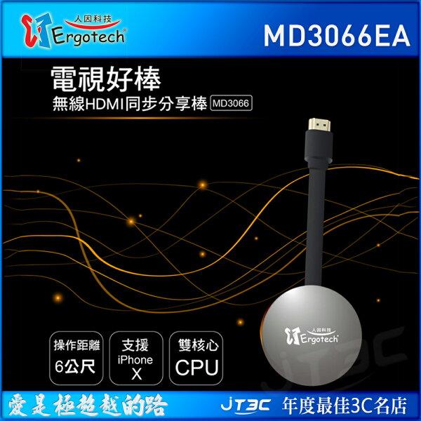【點數最高16%】人因MD3066EA電視好棒無線HDMI同步分享棒鋼鐵灰