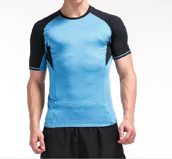 FINDSENSEMD日系時尚男高彈力衣袖拼接緊身運動短T訓練服跑步健身T恤短袖T恤拼色短T