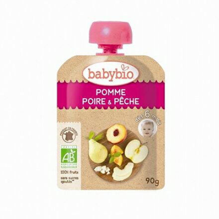 【安琪兒】法國【倍優babybio】有機蘋果洋梨纖果泥90g(6個月)