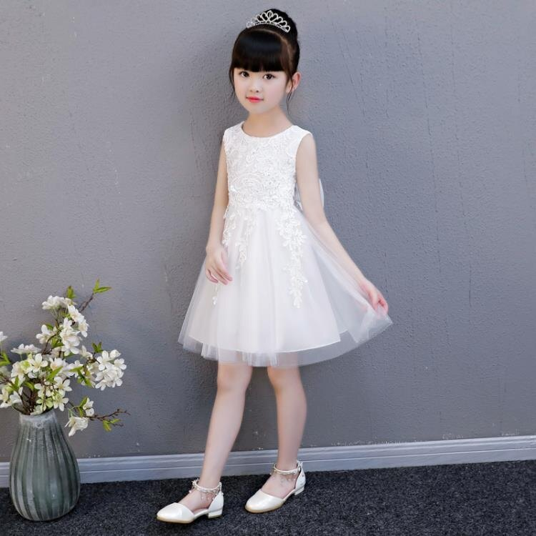 女童洋裝夏季公主裙兒童裙子小女孩夏裝蓬蓬紗裙白色