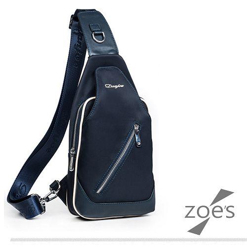 ~Zoe  ^#27 s~牛津布 街頭系列 斜背胸包^( 藍^) ~  好康折扣