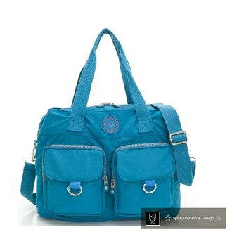 【US.style】防潑水皺皺布 三格層 三用旅行包/肩背包(海藍)