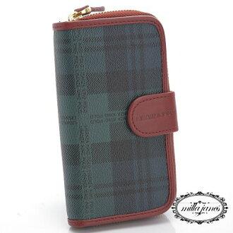 【Milla•Janes米拉.珍妮絲】英倫時尚POLO 藍綠格紋 手拿鑰匙包/零錢袋!