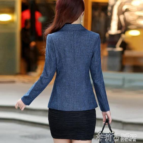 2019秋裝新款修身女士小西服長袖休閒ol氣質韓版小西裝外套短款潮