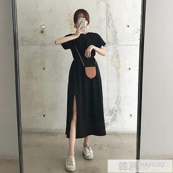2020夏季新款洋裝女法式收腰顯瘦氣質中長款開叉短袖長裙子過膝