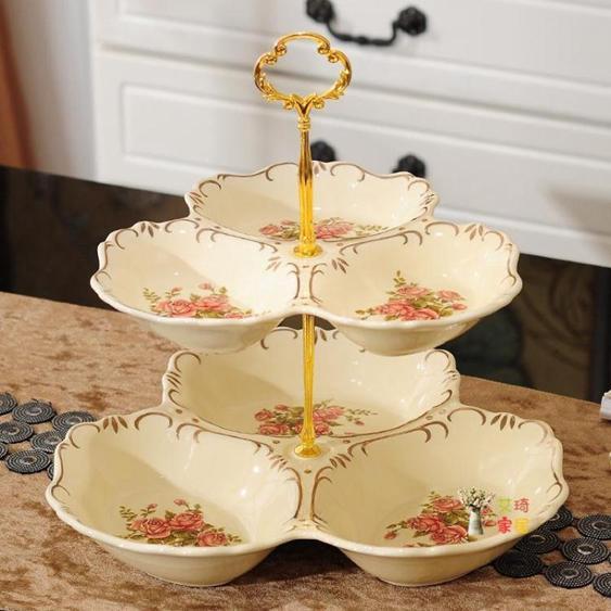 點心盤 歐式陶瓷雙層水果點心盤子家用客廳零食糖果干果盤創意蛋糕架托盤 3色