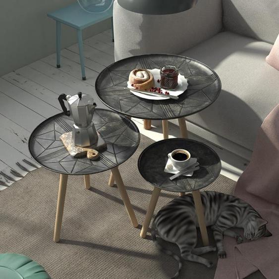 大鼻子北歐樹脂茶幾現代簡約花幾邊幾客廳臥室置物架花架小圓桌