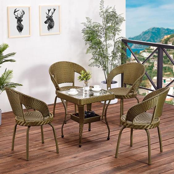 藤椅三件套單人陽臺小茶幾戶外桌椅組合現代簡約庭院臥室休閒椅子