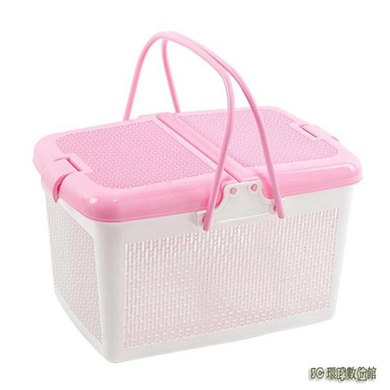 大號帶蓋手提塑料框籃野餐籃買菜籃子采摘籃購物籃果籃浴室收納筐wl5182