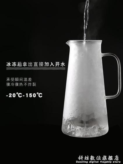 防爆家用耐熱高溫玻璃涼白開水杯曬水瓶大容量鴨嘴冰茶扎壺冷水壺