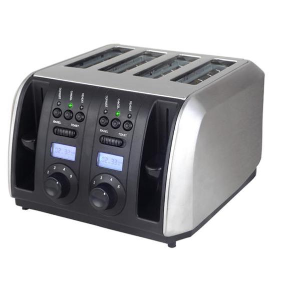 B129不銹鋼多士爐烤面包片機4片裝家用吐司機四口早餐機  全館85折