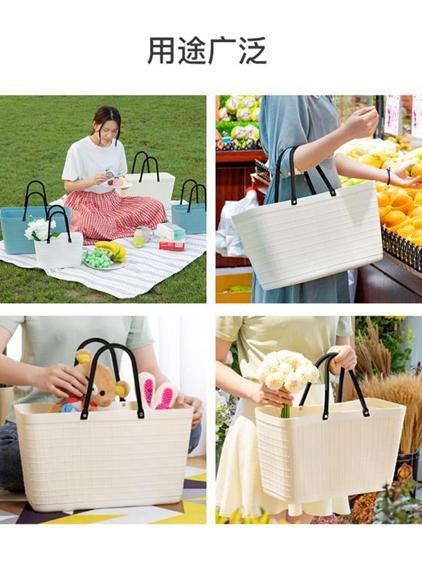 麻布紋收納籃浴筐髒衣籃多功能編制便攜購物籃野餐聚會手提籃子