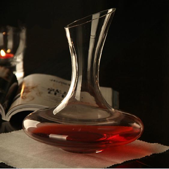 水晶玻璃醒酒器斜口酒壺帶把紅酒杯盛酒器倒酒器無鉛分酒器