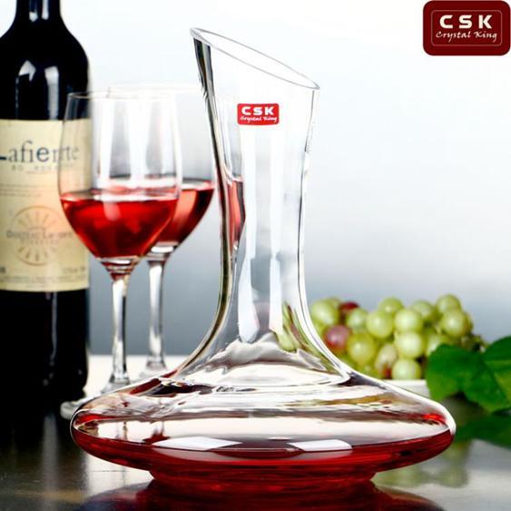 CSK萊瑞斯水晶玻璃倒酒器手工紅酒醒酒器葡萄酒分酒斜口酒壺