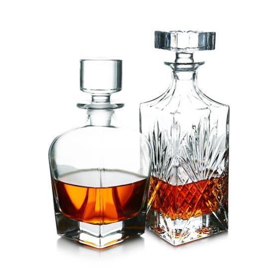 JUNREN水晶玻璃酒樽大號紅酒醒酒器家用洋酒瓶子帶蓋防塵酒壺容器