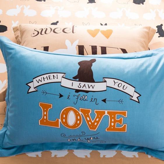 枕套一對棉質48x74cm100%全棉簡約成人枕頭套單人枕芯套
