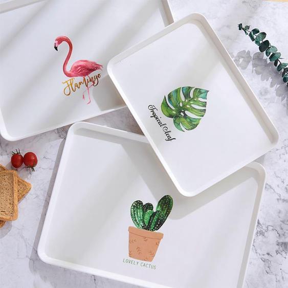 托盤 塑料長方形家用北歐簡約收納端菜蛋糕面包水果盤茶盤小杯子盤