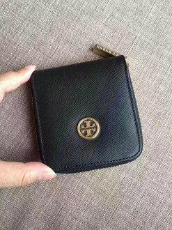 Outlet正品代購 Tory Burch TB 馬卡龍多色零錢包 黑色 卡片包 證件包 錢包 皮包 有多色