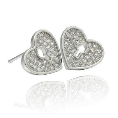 925純銀耳環鑲鑽耳飾~可愛典雅 母親節生日情人節 女飾品2色73dm250~ ~~米蘭